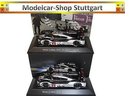2 x Porsche 919 Hybrid #2 Winner Le Mans 2016 Spark 1:43 Start- + Ziel-Version