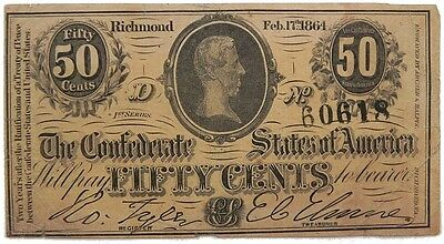 Confederate States Of America 50 Cents Series 1 Feb 17Th 1864