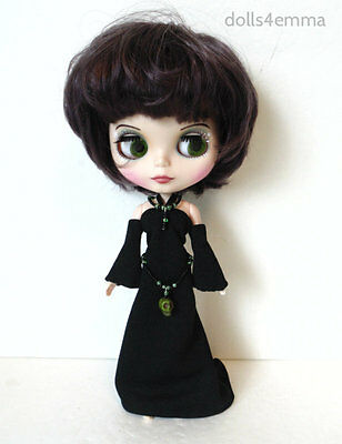 BLYTHE DOLL CLOTHES Gothic Black Gown + Skull Belt + Jewelry Fashion NO DOLL d4e