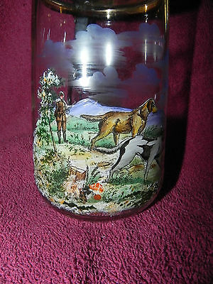 Clear Glass flip lid BEER Stein Mug Cup Hand Painted Old Hunting Scene w/ dogs