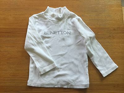 United Colors Of Benetton Designer Top Pulli Pullover 74 6 12 Weiss Baumwolle