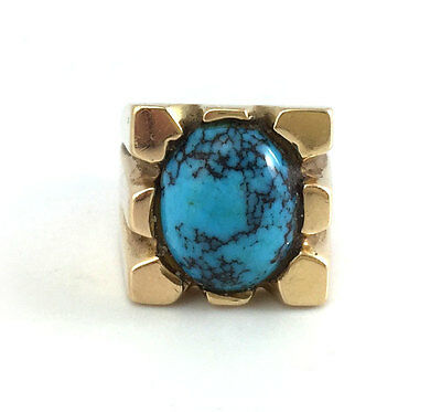 Navajo Persian Turquoise and 14K Gold RIng, Size 7.75