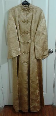AMAZING VINTAGE 50s-60's CHINESE STYLE ELEGANT DYNASTY SILK BROCADE ROBE GOWN