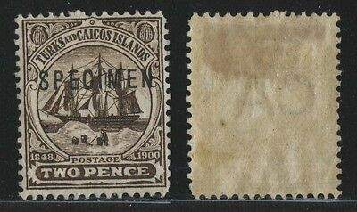 Turks and Caicos Islands, early issue, Specimen, hinged.n25