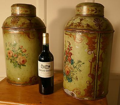 A Pair of Early Very Large Hand Painted Toleware Tea Canisters, with Lids,
