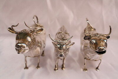 Magnificent 19C 3 Pieces Of Dutch, German, Spanish Sterling Silver Cow Creamers