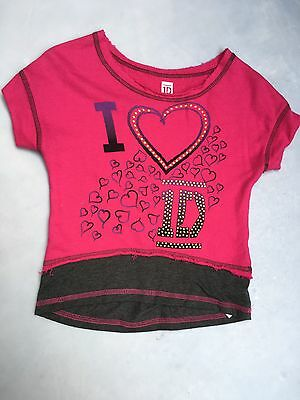 Girls Pink Jazz One Direction 1D Short Sleeve Top Tee Size M 7-8 With Hearts
