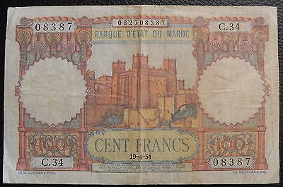 MOROCCO - 100 francs - 1951 (19-4-51) - Pick 45