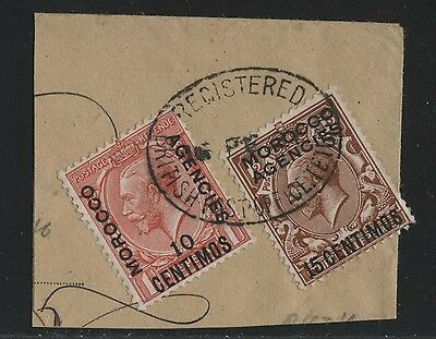 British Offices in Moroco registered used on piece.n25