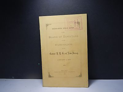 Vintage Central Railroad Co of New Jersey  1876  Annual Report New York