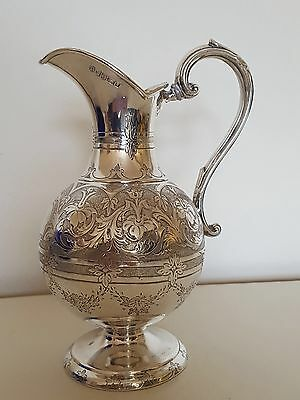 Solid Silver Wine or Milk Jug 1865 Sheffield by William & Henry Stratford