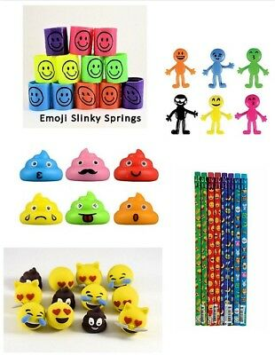 60 Piece Set Emoji Party Favors Mixed for Loot Bag Filler Goody Pinata Gifts