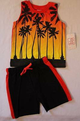 NEW Baby Boys 2 Piece Set 24 Months Outfit Shirt Tank Top Shorts Palm Trees Draw