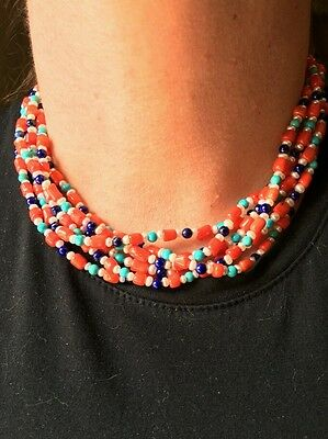 Vintage Southwest Turquoise Coral Lapis Pearl Cooker Necklace Sterling Ends