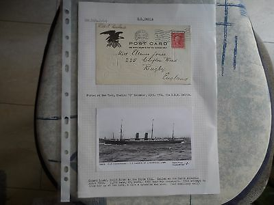 2 x post cards 1904 ships plus 1 letter