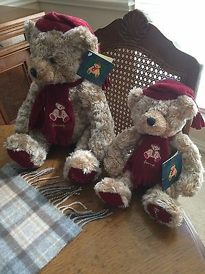 2 Harrods 1999 Classic Christmas Bears  - 8 & 13 inches