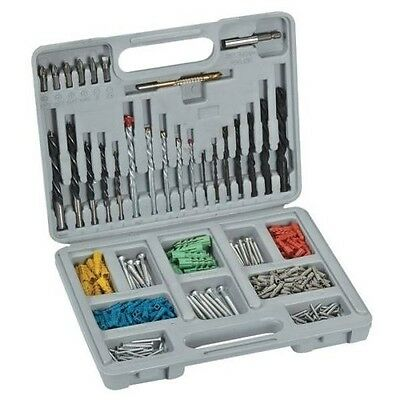 301 PC Drywall Anchor & Carbide Drill Bit Set Kit Masonary Metal Wood w. Case
