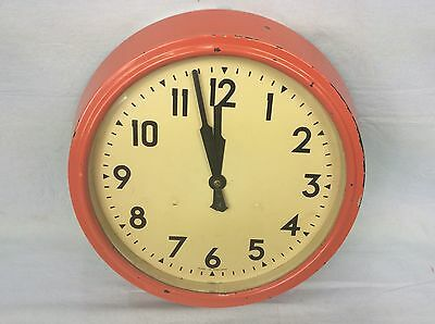 Vintage Bakelite Mechanical Wall Clock, Painted Post Office Red, 8 Day, Working