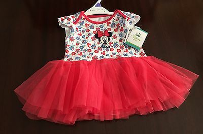 Bnwt Girls Minnie Mouse Bodysuit With Attached Netted Skirt Age 3-6 Months