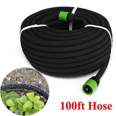 BG176 100FT Garden Lawn Porous Soaker Hose Watering Water Pipe Drip Irrigation