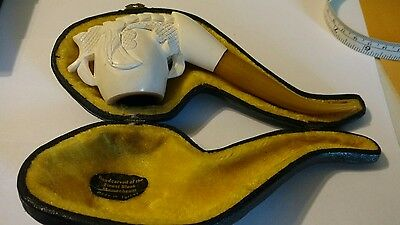 Vintage Carved Dragon's claw MEERSCHAUM bowl & amber colored Lucite stem