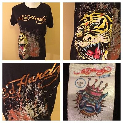 Ed Hardy Kids Short Sleeve T Shirt Youth XL Black Tiger 100% Cotton