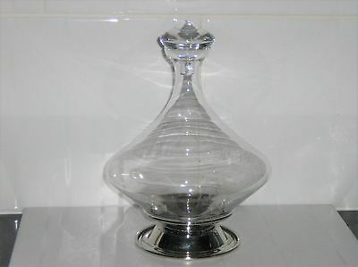 Contemporary Novelty Diamond Shape Decanter & Stopper on Metal Stand