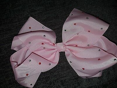Girls large pink diamonte hair bow 20cm Brand new
