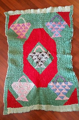 Folkart Small Antique Gathered Quilt/Wall hanging
