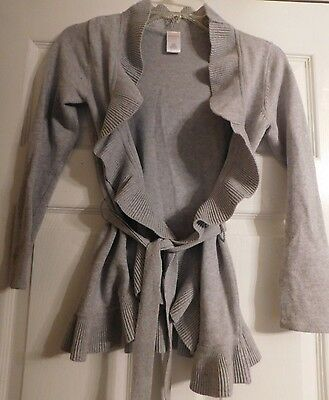 Girls Gymboree Gray Open & Ruffle Front Cardigan Sweater Size 7-8 Or M With Belt
