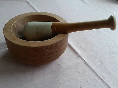 large heavy, good quality,wood and stone pestle & mortor.herbs/ spices