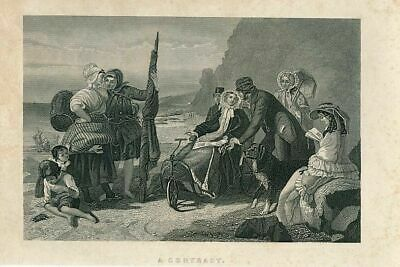 Peasants & affluent bike Wheel chair dog ca. 1850's era ethnic antique print