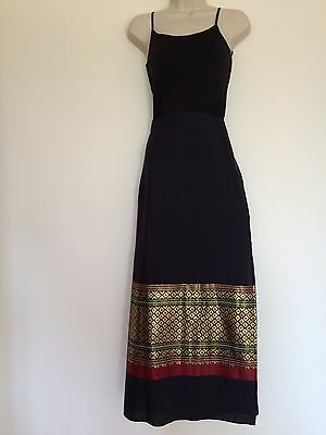 Black And Gold Embroidered AUTHENTIC Thai Wrap Skirt Sarong