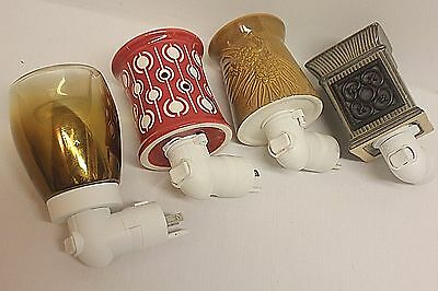 Lot of 4 Scentsy Plug-In Warmers (Amber, Tan, Deco, Red)