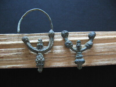 Pair Of Perfect Ancient Celtic Bronze Punctate Form Earrings 300-100 B.c.