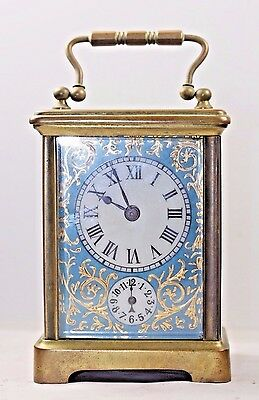 Antique 8 day Miniature French Porcelain Panel Carriage Clock Timepiece & Horses