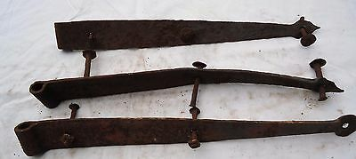 "Vintage Wrought Iron Barn Door Strap Hinges 16-1/2"" Set Of Three"