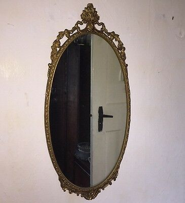 Large Brass Antique Rococo Style Mirror