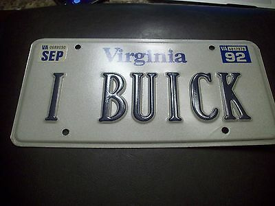 A++ Near Mint 1992 Buick Vanity License Plate 1961-1962-1963-1964-1965-1966-1967