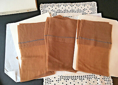 Vintage 3 Pr Stunning Stems Garter Nylon Stockings  Sz 91/2  - Med Tan / Beige