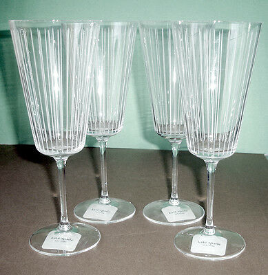 bb58a97d67a Kate Spade Marlborough Street 4 Iced Beverage Glasses Crystal Lenox NEW
