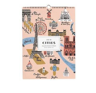 "New/Sealed Rifle Paper Co. 2016 Cities Wall Calendar 15"" x 11"""