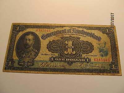 1920 Newfoundland One Dollar Note Government of Newfoundland Will Pay to Bearer