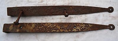 "Vintage Wrought Iron Barn Door Strap Hinges 18"" Long Pair"