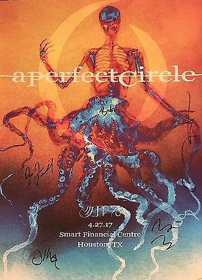 A PERFECT CIRCLE Houston TX Tour Poster 4/27/2017 Ltd Num SIGNED BY BAND APC