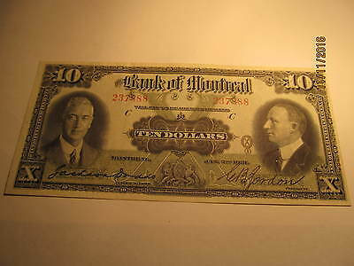 1931 Bank of Montreal $10 Banknote, Almost Uncirculated, Large Size Note