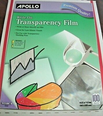Apollo Write-On Transparency Film, 8.5 x 11 Inches, Clear, 100 Sheets Box NEW