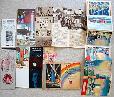 Vintage World's Fair & A Century Of Progress Brochures, Matchcover, Postcards
