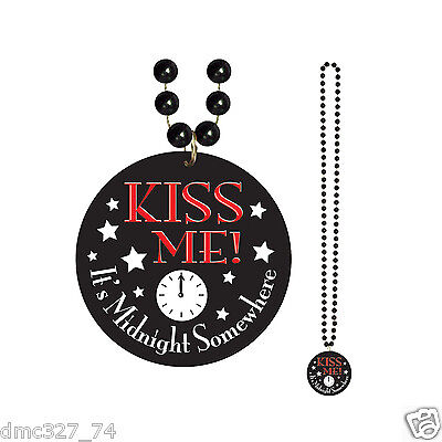 1 NEW YEARS EVE New Year Party NECKLACE BEADS KISS ME IT'S MIDNIGHT SOMEWHERE