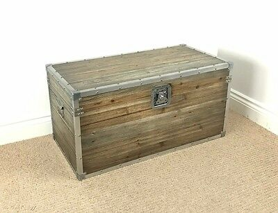 *FACTORY SECOND*  LARGE VINTAGE / INDUSTRIAL STYLE TRUNK / Chest Coffee Table